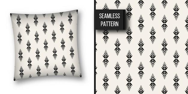 Monochrome geometric seamless pattern.