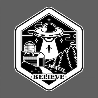 Monochrome graphic of vintage sticker patch pin print  with ufo of alien invaders from space above farm countryside conspiracy story. cartoon illustration logo design.