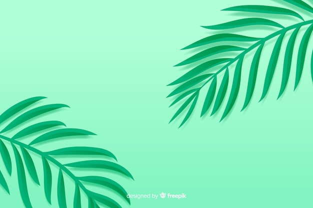 Monochrome green leaves background in paper style