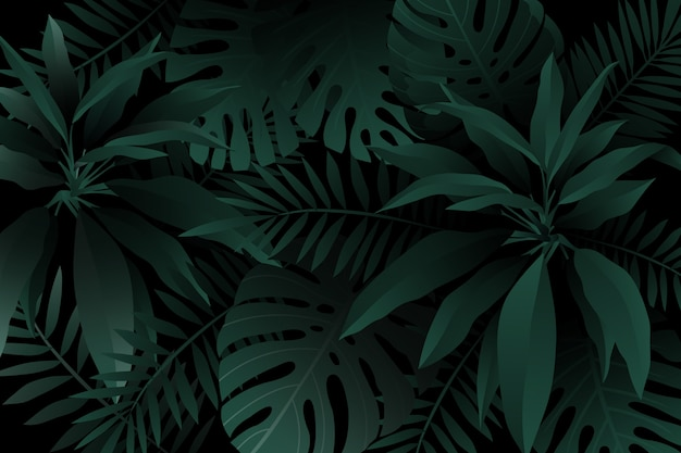 Monochrome green realistic dark tropical leaves background