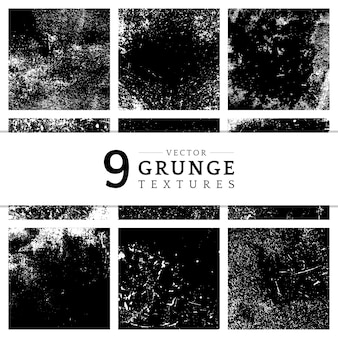 Monochrome grunge distressed texture set