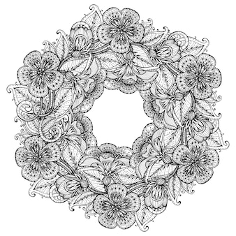 Monochrome hand drawn fancy flowers on white background card  for greeting or invitation,  illustration.