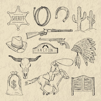 さまざまな野生の西のシンボルのモノクロの手描きイラスト。西洋の写真セットは分離します。ワイルドウェストヴィンテージ、サボテン、保安官スター