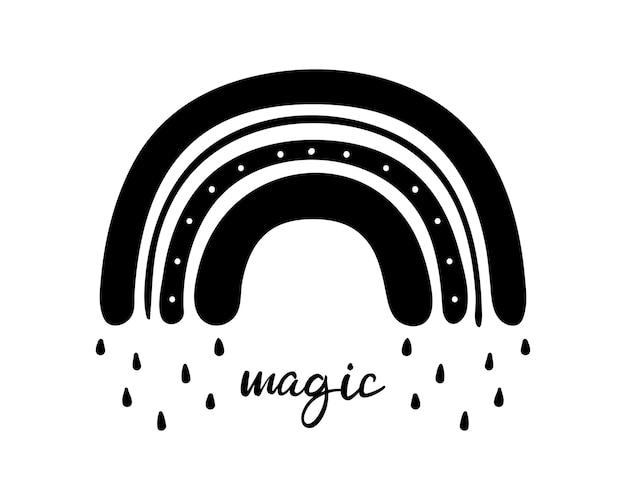 흑백 손으로 그린 마법의 무지개 wirh 비 방울. 글리프 자연 날씨 요소입니다.