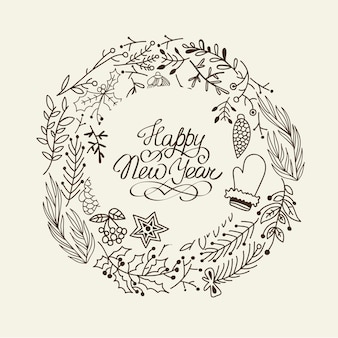 Monochrome happy new year wreath card with traditional elements