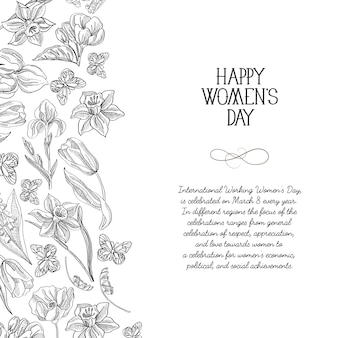 Monochrome happy women's day greeting card with many flowers to the right of the text with greetings vector illustration