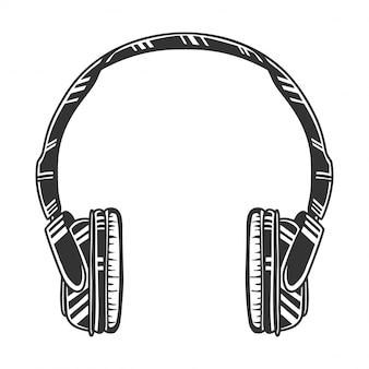 흑백 헤드폰, 오디오 헤드셋, 이미지, 복고풍 스타일. 흰색 절연