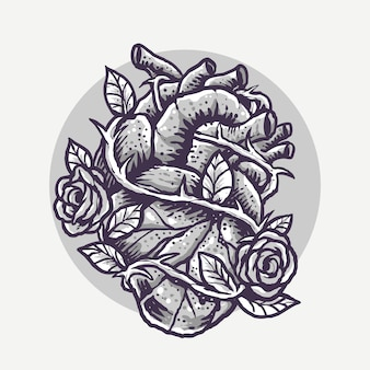 Monochrome heart and roses engrave cartoon illustration