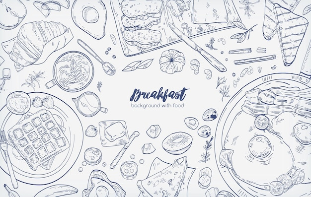 Monochrome horizontal banner with various healthy morning food and breakfast meals hand drawn with contour lines