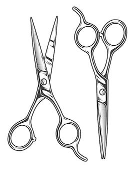 Monochrome illustration of barber scissors