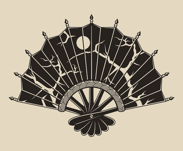 Monochrome illustration of a fan with a pattern on a white background