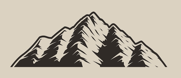 Monochrome illustration of mountains on a light background isolated