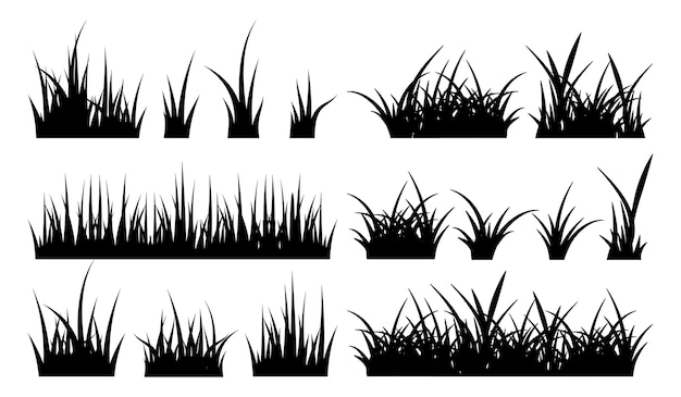 草のモノクロイラスト。黒のシルエット自然草地