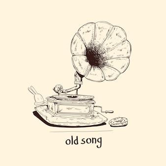 Монохромная иллюстрация изолированного старого фонографа