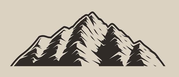 分離した明るい背景に山の白黒イラスト