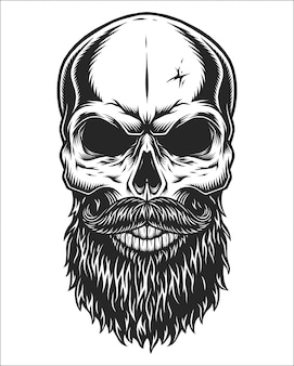 Монохромный рисунок черепа