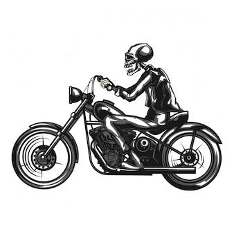 白で隔離されるオートバイのスケルトンバイカーの白黒イラスト。