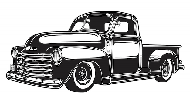 Monochrome illustration of retro style truck