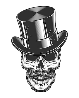 Monochrome illustration of skull with top hat and moustache