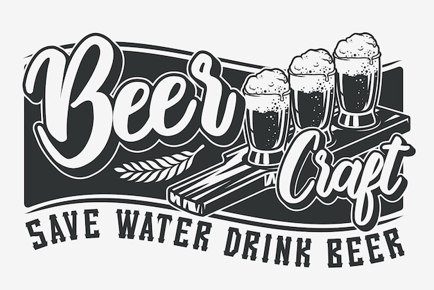 Monochrome illustration with beer and lettering.