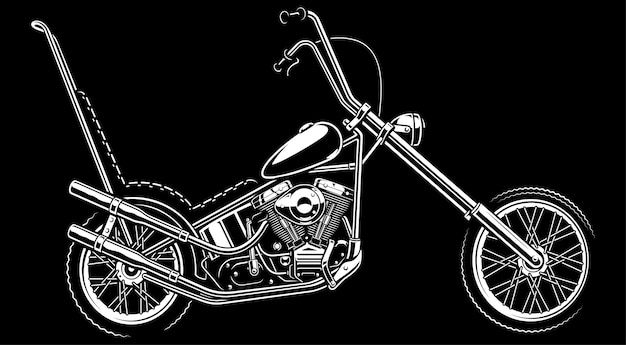 Monochrome illustration with classic  american chopper.  on white background. (version on the dark background) text is on the separate layer.