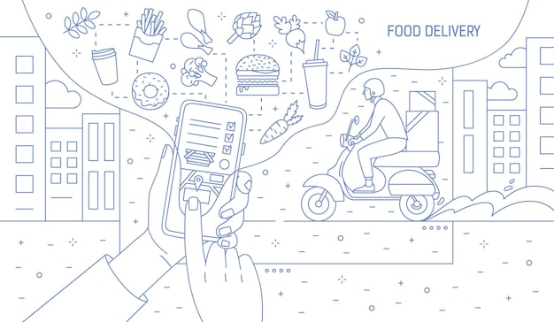 Monochrome illustration with hands holding smartphone with food delivery service application, meals and courier boy riding scooter drawn with contour lines