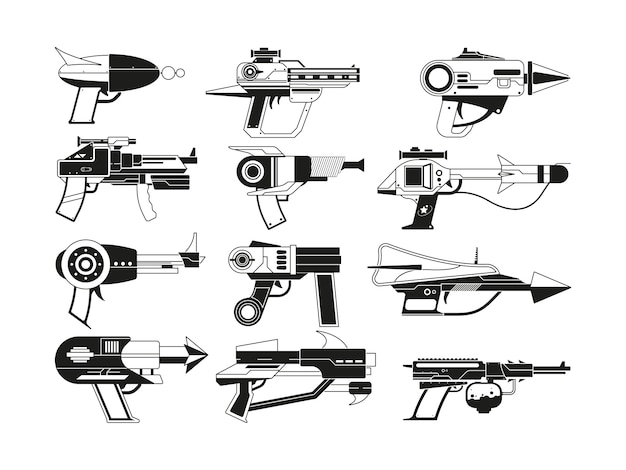 Monochrome illustrations of futuristic weapons for astronauts