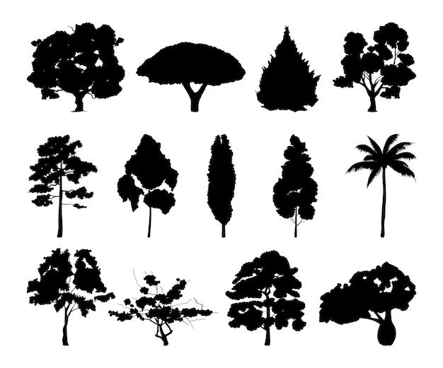 さまざまな木のシルエットのモノクロイラスト。葉を持つ黒い木