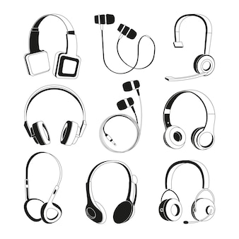Monochrome illustrations set. silhouette of headphones