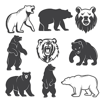 Monochrome illustrations of stylized bears set