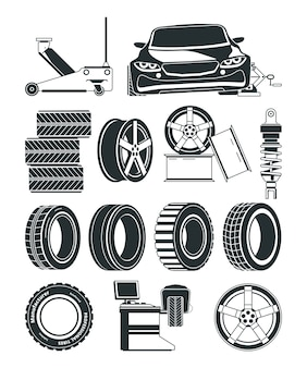 Monochrome illustrations of tires service symbols, wheels and cars. auto service repair tire, station vulcanization