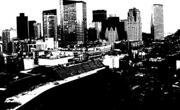 Monochrome image with city skyline