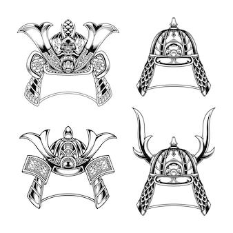 흑백 일본 사무라이 헬멧 컬렉션