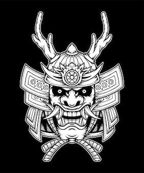 モノクロの日本の侍。プレミアムベクトル