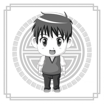 Monochrome japanese symbol with silhouette cute anime teenager expression surprise