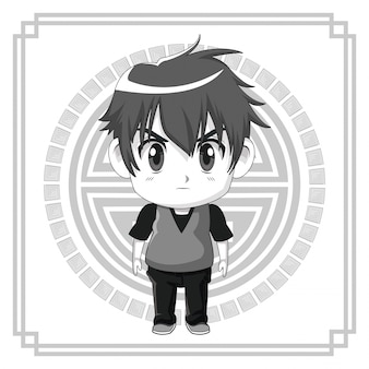 かわいいアニメティーンエイジャーの表情が怒っているモノクロの日本のシンボル