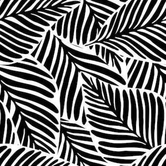 モノクロジャングルの幾何学的なシームレスパターン。エキゾチックな植物。熱帯のパターン、手のひらはシームレスなベクトル花の背景を残します。