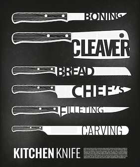 Monochrome kitchen knives scheme set