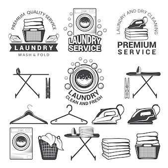 Monochrome labels of laundry service.