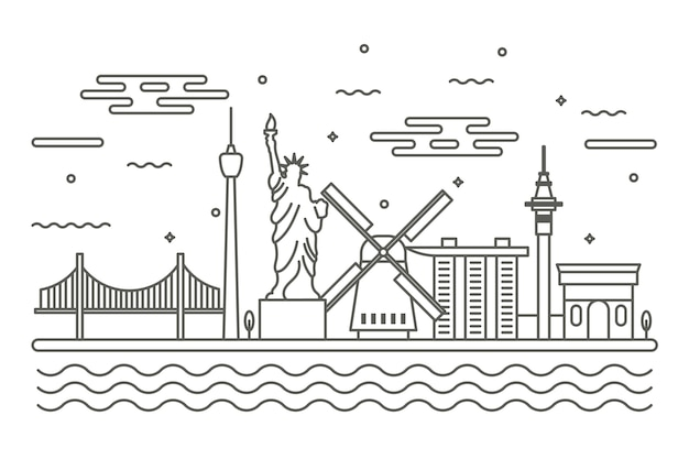 Monochrome landmarks skyline concept
