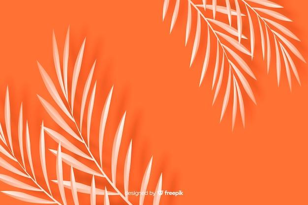 단색 오렌지 색조에서 종이 스타일에서 배경 나뭇잎