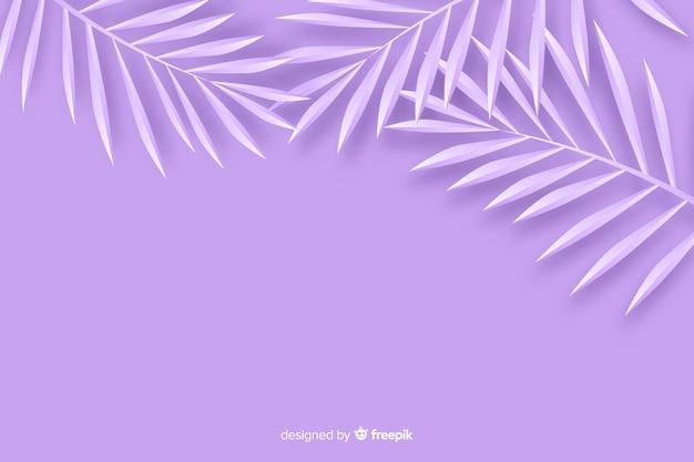 Монохромные листья фон в стиле бумаги в фиолетовых тонах