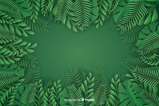 Монохромный листья фон в стиле бумаги