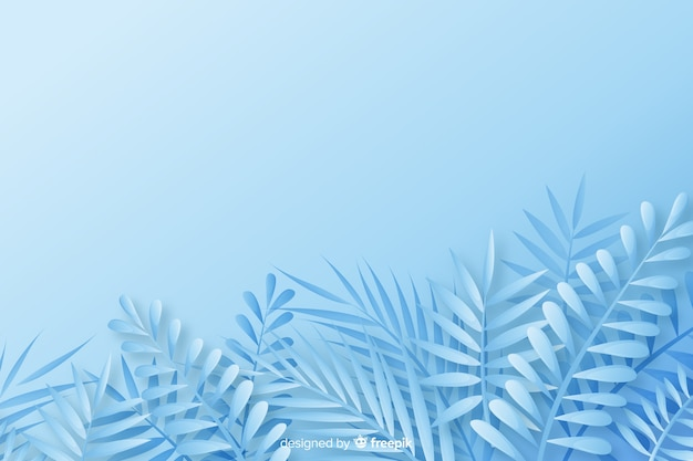 Monochrome leaves background in paper style in blue shades