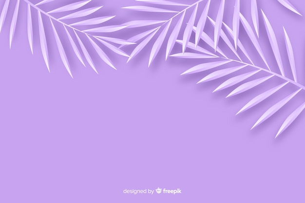 Monochrome leaves background in paper style in violet shades