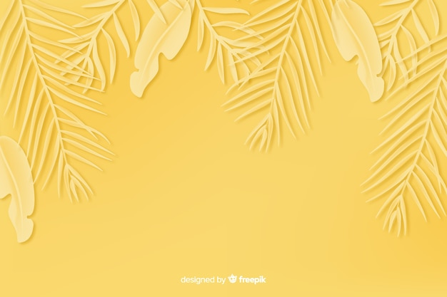 Monochrome leaves background in paper style in yellow