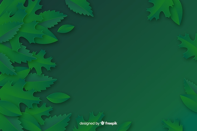 Monochrome leaves background in paper style