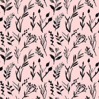 Monochrome leaves and branches watercolor seamless pattern