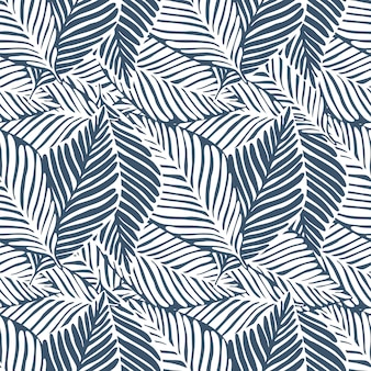 Monochrome leaves jungle print. tropical pattern, palm leaves seamless. exotic plant.