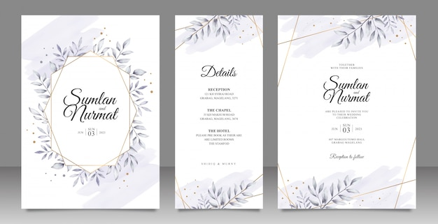 Monochrome leaves wedding invitation set design with golden striped